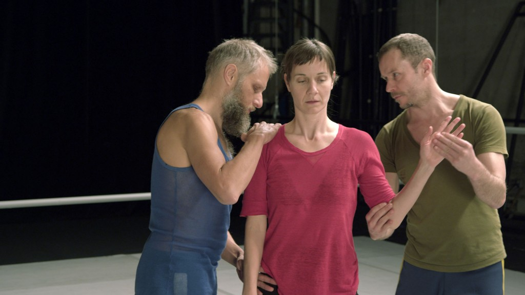 From left, Mat Voortner, Sara Ludi and Thomas Hauert demonstrating one external impulse strategy for priming the dancer's attention